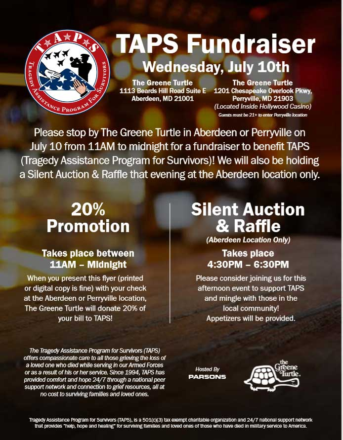 TAPS Fundraiser at Greene Turtle Flyer Cover