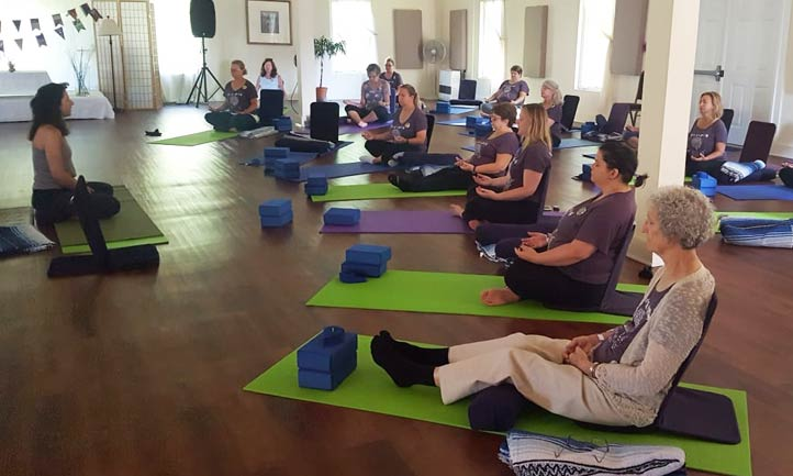 Surviving Women in yoga session