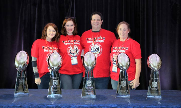 TAPS families with Patriots Super Bowl Trophies