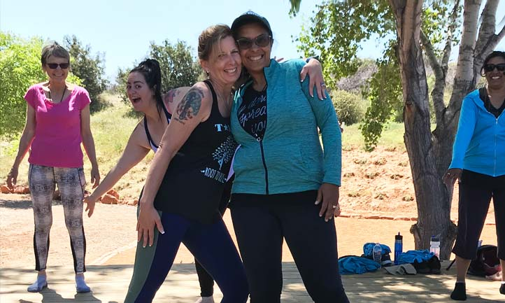 Surviving women at Yoga in Sedona