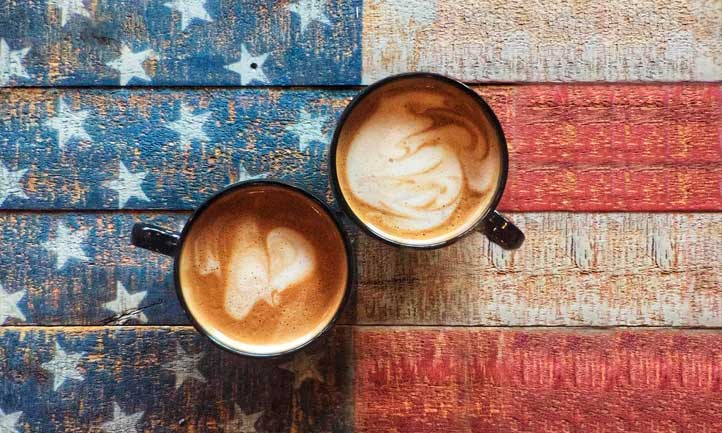 Coffee Cups and American Flag