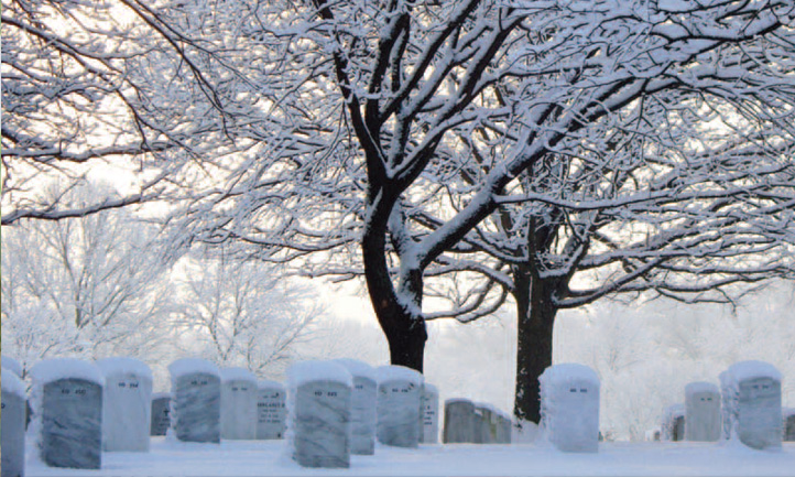 TAPS Magazine winter 2010 cover, snowy Arlington national cemetery