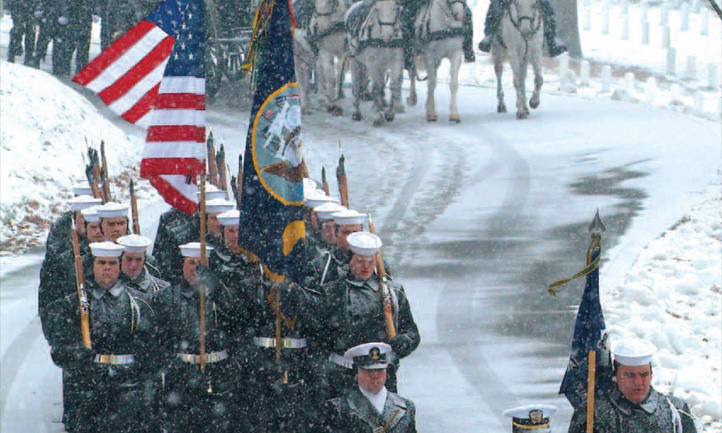 TAPS Magazine winter 2011 cover, snowy funeral procession at Arlington national cemetery