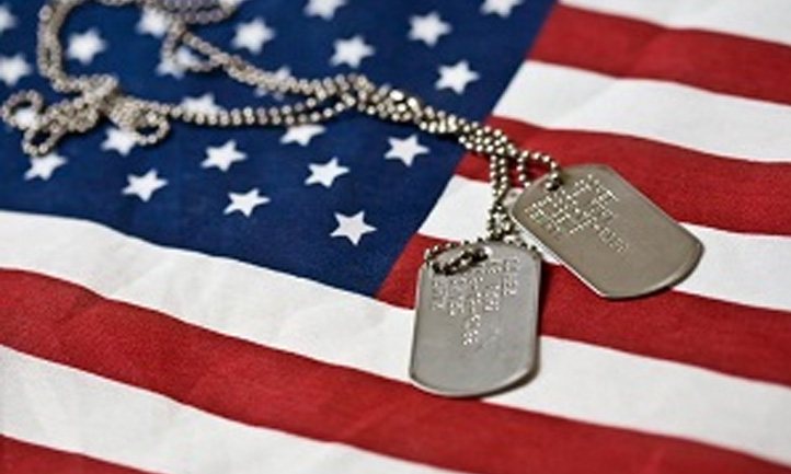 Flag and dog tags