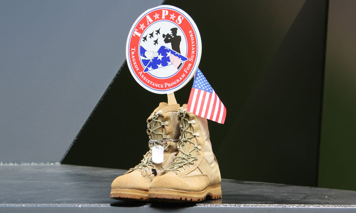 military boots and flags