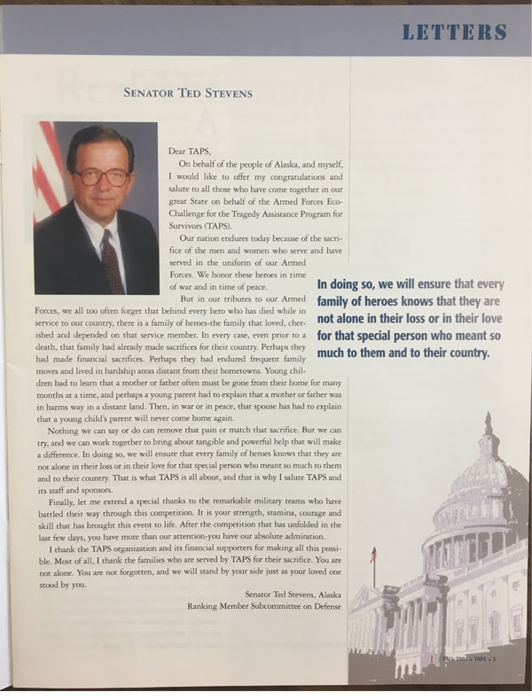 Copy of 2002 Newsletter - Senator Ted Stevens Article
