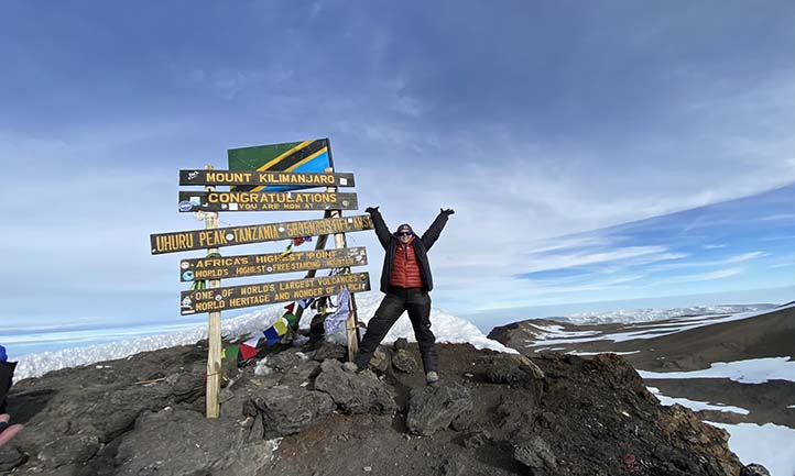 Rachel at the summit of Kilimanjaro