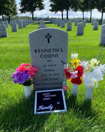 Kenneth's decorated gravestone