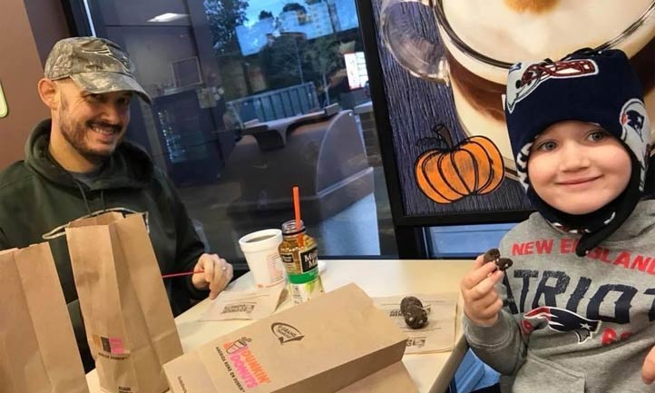 Lily, and her father, John, at Dunkin' Donuts