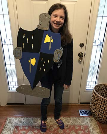 Elizabeth with her crafted coat of arms