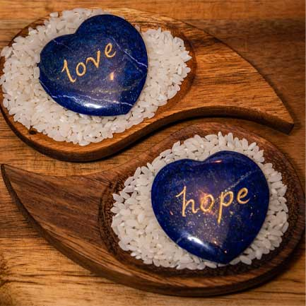 Lapis Hearts with Love and Hope inscribed