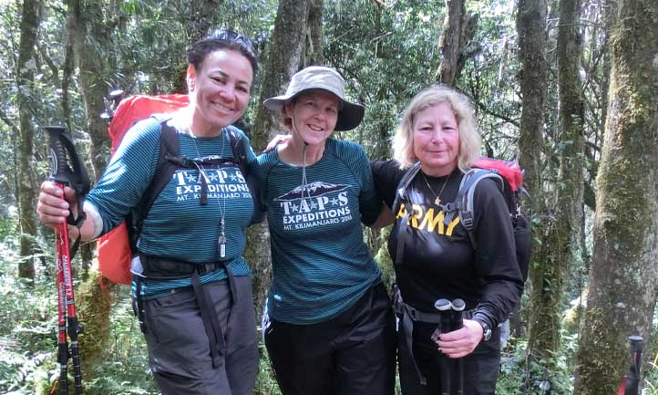 TAPS Survivors in forest hiking