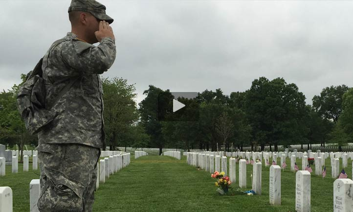 soldier salute at cemetery